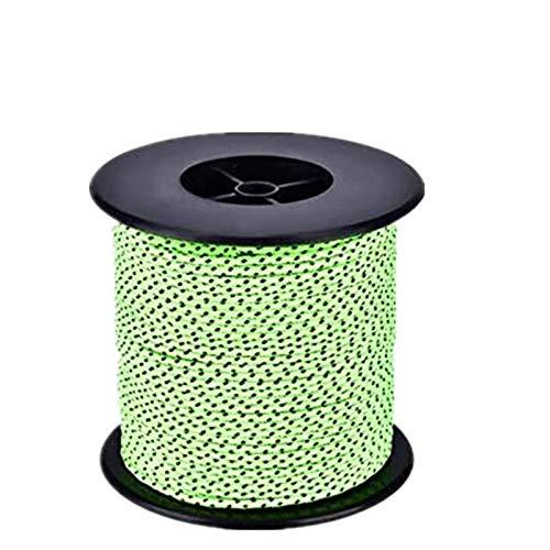 Qdreclod 50M Abspannseile Reflektierende Zeltleine Spannschnur, 4mm Rolle Paracord Multifunktional Draussen Zeltseil Zeltschnur für Camping und Wandern, Fluoreszierendes Grün