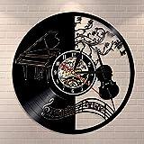 Fryymq (12 Pulgadas con LED) Herramientas Musicales en la Pared de la casa del Artista, decoración en el Reloj de Pared, Piano, Violonchelo, Mesa de música, Disco de Vinilo en el Reloj de
