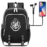 Schoolbag per studenti della scuola di Hogwarts,Zaino per laptop multifunzione Con porta di ricarica USB,Daypacks casual harry Potter 44/30/15CM Nero
