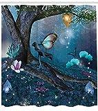 Fantasie-Duschvorhang, Zauberwald mit blühenden Blumen Mystical Environment Woods Illustration, Stoff Stoff Badezimmer Dekor Set mit Haken, Multicolor