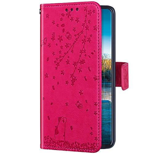 Uposao Kompatibel mit Huawei Y5 2019 Hülle Schutzhülle Lederhülle Kirschblüte Blumen Katze Muster Handyhülle Leder Tasche Klapphülle Wallet Flip Hülle Magnet Ständer Kartenfächer,Pink