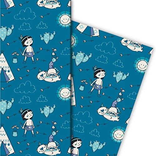Leuke cadeaupapierset voor kinderen (4 vellen), decoratiepapier, papier om in te pakken met Indiaanse wasbeer-tent en bever, blauw, voor leuke geschenkverpakking en verrassingen, 32 x 48 cm