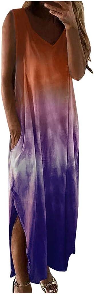 KYLEON Dress for Women, Maxi Long Dress Casual Summer Hippie Soul Print Sleeveless Sundress Party Beach Tunic Dress