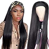 Beauty Forever Straight Headband Wigs Human Hair Glueless Wig, 18inch Natural Color Non Lace Wig for Black Women Beginner Friendly 150% Density