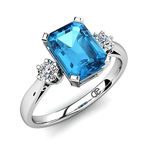 Anillo de compromiso de plata con topacio azul 2.15 ct Calidad AAA y 2 piedras de Swarovski + Anillo de plata esterlina 925 con topacio azul con corte esmeralda de 6x8 mm + Anillo de mujer com