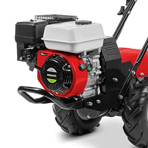 GREENCUT GTC200X - Motocultor de gasolina con motor de 4 tiempos 196cc y 6,5cv con ancho de trabajo de 50cm y profundidad de 35cm en la Tierra
