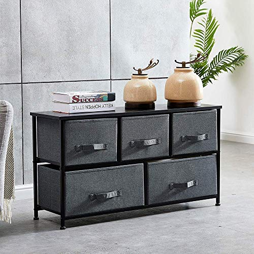 HomeSailing Taupe Grey Bedroom Chest of 5 Fabric Drawers Dresser Closet Living Room Unit Storage Sideboard Cabinet for Kids Room Clothes Toy Collection Nursery Long TV Stand Cabinet 43inches