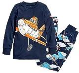 Mengmeng Aircraft Boys Long Pajamas Set 2 Piece Kids 100% Cotton Clothes, Blue, 4T
