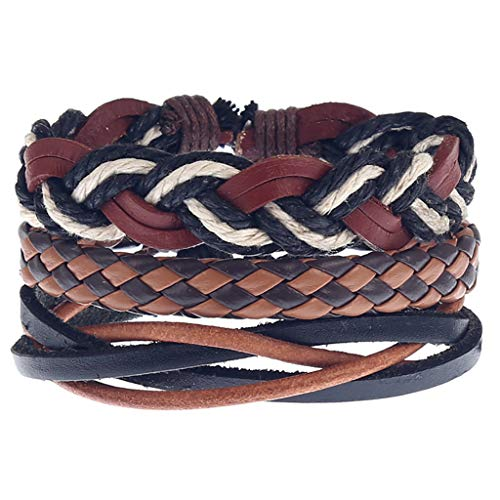 SDCAJA Mens Leather Bracelet Simple Vintage Woven Leather Bracelet Leather Bracelet set Valentine's Day present for husband, Dad and Boyfriend(3PC)