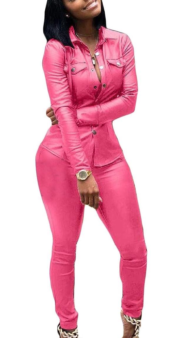 知覚保存地上の女性2ピース衣装フェイクPUレザージャケットとロングスキニーパンツジョガートラックスーツ
