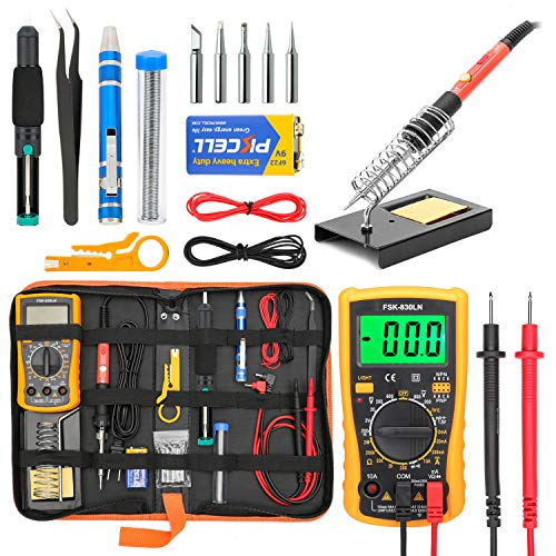 Soldering Iron Kit for Electronics, Yome 19-in-1 60w Adjustable Temperature Soldering Iron with ON/OFF Switch, Digital Multimeter, 5pcs Soldering Iron Tips, Desoldering Pump, Screwdriver, Stand