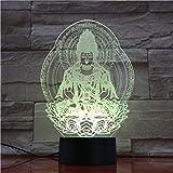 BFMBCHDJ Buddha 3D Lampe USB Nachtlicht LED RGB Beleuchtung Luminaria Tisch Kinder Weihnachten Home Dekorativ