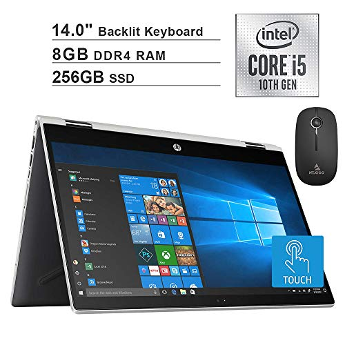 2020 HP Pavilion X360 14 Inch FHD 1080P Touchscreen 2-in-1 Laptop  Intel Core i5-10210U (Beats i7-7500U)  8GB RAM  256GB SSD  Backlit KB  FP Reader  Win10 + NexiGo Wireless Mouse Bundle