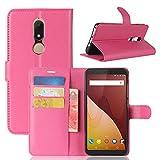 HongMan Handyhülle für Wiko View Prime Hülle, Premium Leder PU Flip Hülle Wallet Lederhülle Klapphülle Magnetisch Silikon Bumper Schutzhülle Tasche mit Kartenfach Geld Slot Ständer, Pink