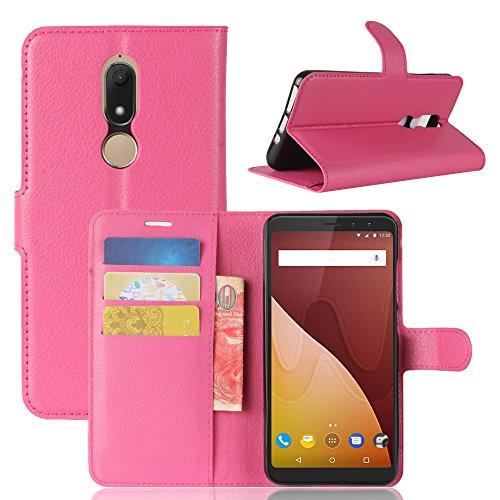 HongMan Handyhülle für Wiko View Prime Hülle, Premium Leder PU Flip Case Wallet Lederhülle Klapphülle Magnetisch Silikon Bumper Schutzhülle Tasche mit Kartenfach Geld Slot Ständer, Pink