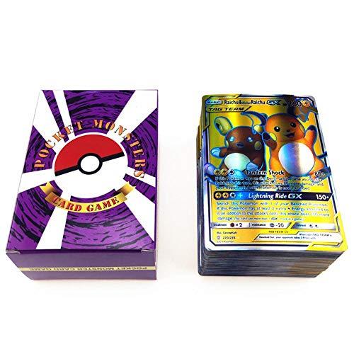 Wonderfulrita 120 Poke-Karten, Holo EX Full Art TCG-Style Karte, inklusive 20 Mega-Karten, 20 GX-Karten, 80 Tag-Team-Karte, seltene Pokemon Grabbag-Karten, für Sammlungen und als Kinderspielzeug.