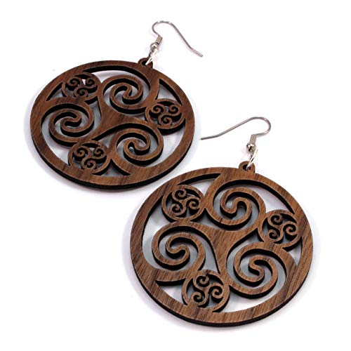 Celtic Hoop Earrings made of Sustainable Walnut Wood - Large (2') - Hook Dangle Drop Wooden Earrings