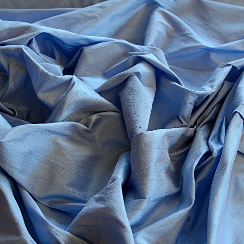 Iridescent Cornflower Blue Dupioni Silk, 100% Silk Fabric, by The Yard, 44' Wide