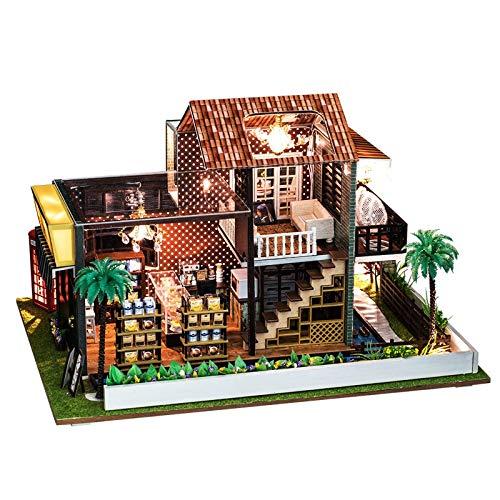 NHK-MX Café Miniatura Mdelo de la Casa DIY Hecho a Mano 3D Puzzle Juguetes Puzzles Artesanía de Madera Creativa