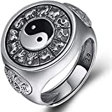 ZHIRCEKE Yin Yang Anillo 925 Banda de Plata esterlina China Feng Shui símbolo Aniversario...