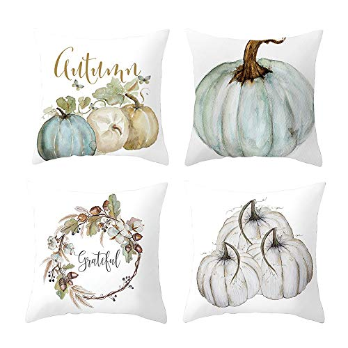 Rambling Pumpkin Throw Pillow Cover, 4 Pack Halloween Thanksgiving Autumn Decor Throw Pillow Case Cushion Covers for Halloween Decoration 18 X 18 Inch