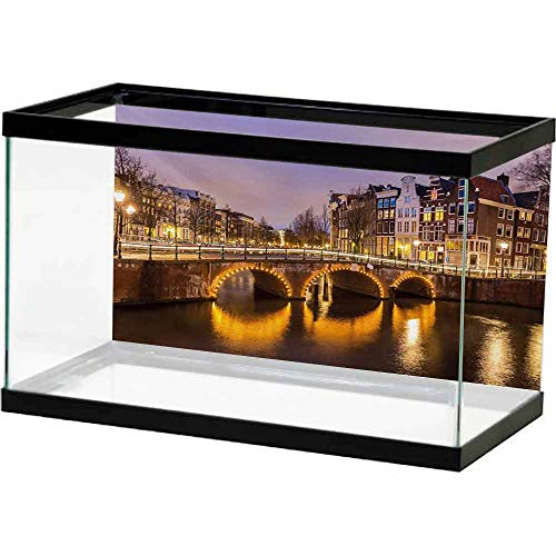 bybyhome Under Sea Fish Aquarium Landscape,Old Historical Bridge in Netherlands Twilight European Architecture Town Scenery,Amber Lilac Non-Toxic