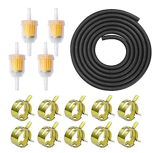 Anyingkai Kit de Manguera de Gasolina,3 Metros Ø 5 mm Línea de Combustible + 4 Piezas Filtro de Gasolina de 8 mm + Abrazaderas de Manguera de 10 Piezas para Coche Moto