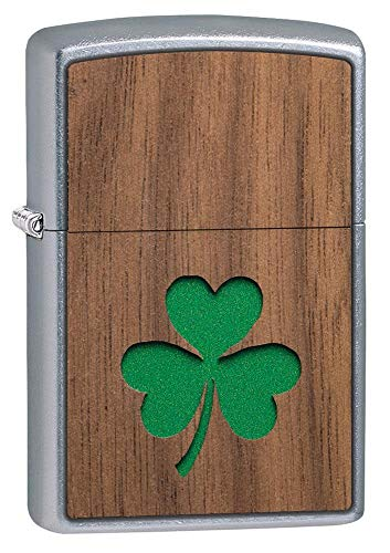 Zippo Woodchuck USA Clover Pocket Lighter, Chrome, One Size