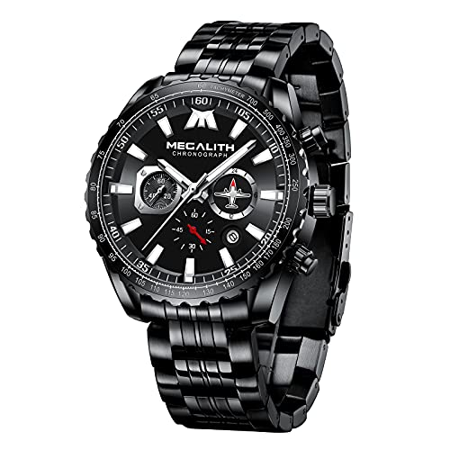 MEGALITH Reloj Hombre Militar Cronografo Acero Inoxidable Reloj de Pulsera Grande Analógico Negro Impermeable Relojes Calendario Luminoso -Plateado Negro