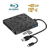 5 in 1 External Bluray DVD Drive, USB3.0/Type-C Blu Ray Drive Player Slim