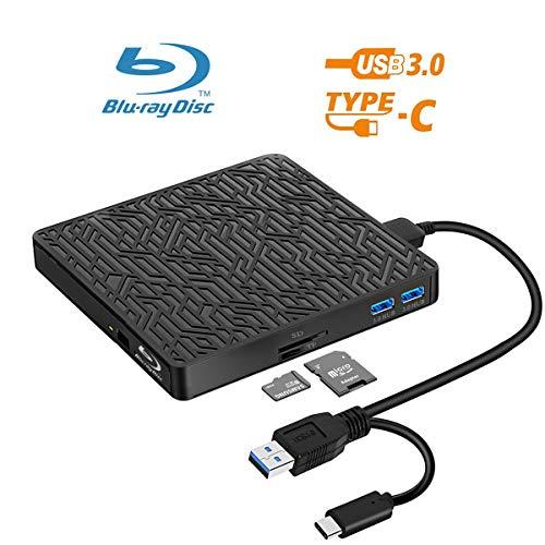 5 in 1 External Bluray DVD Drive, USB3.0/Type-C Blu Ray Drive Player Slim Optical CD DVD Drive Burner with SD/TF Card Reader/2 USB3.0 Hubs for Windows XP/7/8/10, MacOS, Linux,MacBook, Laptop, Desktop