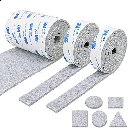 Vicloon Fieltro Adhesivo Rollo 3 Almohadillas de Fieltro Adhesivo (120 * 10cm+2roll 120 * 2cm) Almohadillas de Fieltro, Protector Muebles Antideslizante, Resistente a los Arañazos (Gris)