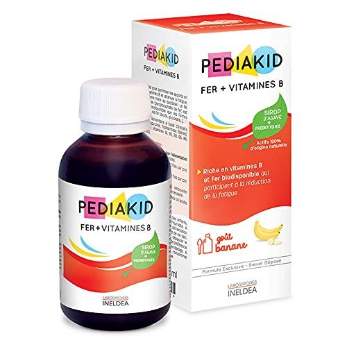 PEDIAKID - Complément Alimentaire Naturel Pediakid Fer + Vitamines B - Formule Exclusive au Sirop d'Agave - Optimise les Apports en Fer - Contribue à Réduire la Fatigue - Goût Banane - Flacon 125 ml