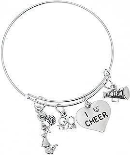 Infinity Collection Cheer Bracelet- Cheerleading Bracelet- Adjustable Cheerleader Charm Bangle Bracelet- Cheer Jewelry for Cheerleaders & Cheer Coaches