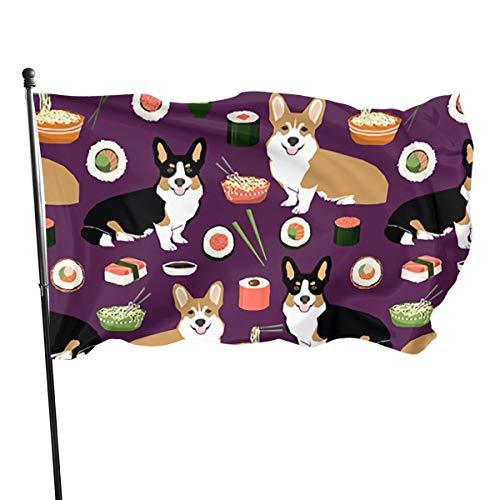 Vlag 3 X 5 Voet Corgis Hond Met Voedsel Duurzame Polyester Vlag Levendige Kleur En Uv Fade Resistant Decoratieve Vlag Voor Binnenplaats Tuin Bloemenpot - Gemakkelijk te installeren