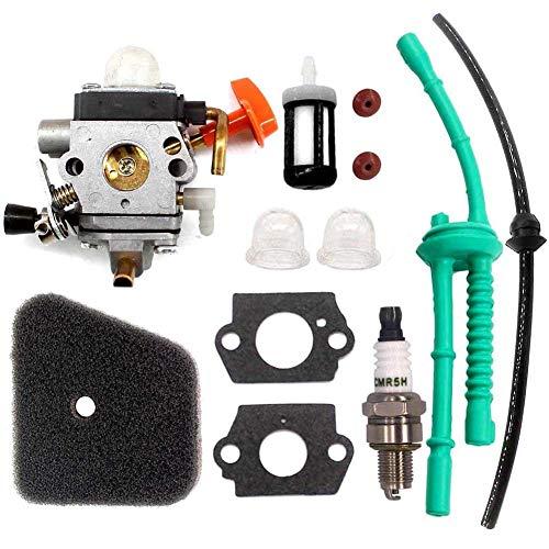 AISEN Carburateur avec filtre à air, tuyau de carburant pour Stihl FS87 FS90 HL90 FS100 FS100R FS110 FS110R FS130 KM130 FR130T FS130R HL100 HT130 KM90 KM100 débroussailleuse...