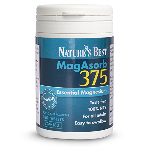 MagAsorb 375mg, Full Strength Magnesium – 180 Vegan Tablets - A Unique One-A-Day Magnesium Tablet (at 100% NRV) – 6 Month's Supply - Magnesium contributes to the reduction of tiredness & fatigue – UK Made