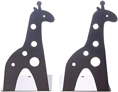 Loupdeloup Cute Bookends,Non Skid Giraffe Animal Book Ends for Shelves Decorative for Kids Black 1 Pair
