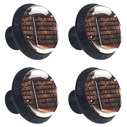 HEOH 4PCS Pomo de Armario,Tirador para cajón,Pomos y Tiradores de Muebles,Pomos,pomos,para Puertas,Armarios de Cocina,Cajones - un Solo Agujero,La Puerta Secreta en la estantería.