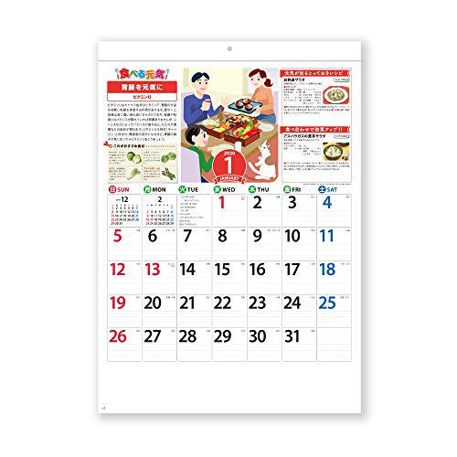 新日本カレンダー 2020年 カレンダー 壁掛け 食べる元気 NK70