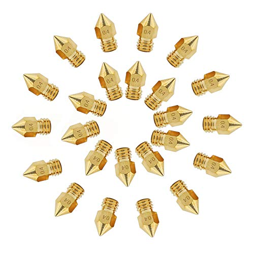 24pcs U20 3D Printer Nozzle 0.4mm MK8 Nozzles, Brass Extruder Nozzle Print Heads Compatible with Alfawise U20 /U30 Makerbot Creality Ender 3 5 CR-10 3D Printer, with Free Storage Box