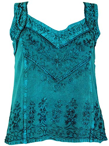 Guru-Shop Besticktes Indisches Hippie Top, Kurze Boho-chic Bluse, Damen, Türkisblau, Synthetisch, Size:40, Tops & T-Shirts Alternative Bekleidung