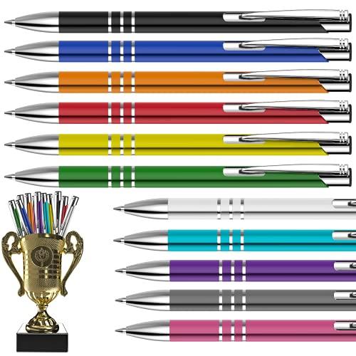 POMEKI Bolígrafo de metal con zona de agarre antideslizante, perfecto para el trabajo o la escuela, bolígrafo ergonómico con agradable sensación de escritura + copa dorada gratis