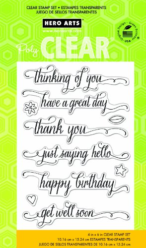 Hero Arts CL738 Messages with Flourish Clear Stamp Set