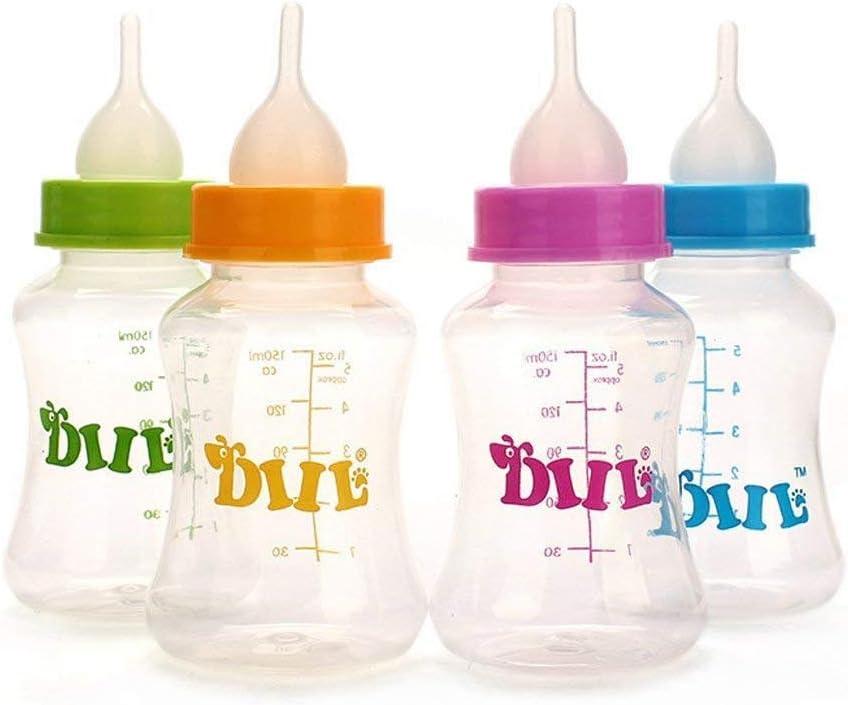 Botella de lactancia con cepillo de pezón para agua, leche y mascota, botella de cuidado portátil, botella de 150 ml para mascotas pequeñas y medianas gatos o cachorros perro – Color al azar