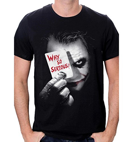Batman Herren Joker Why So Serious T-Shirt, Schwarz, L