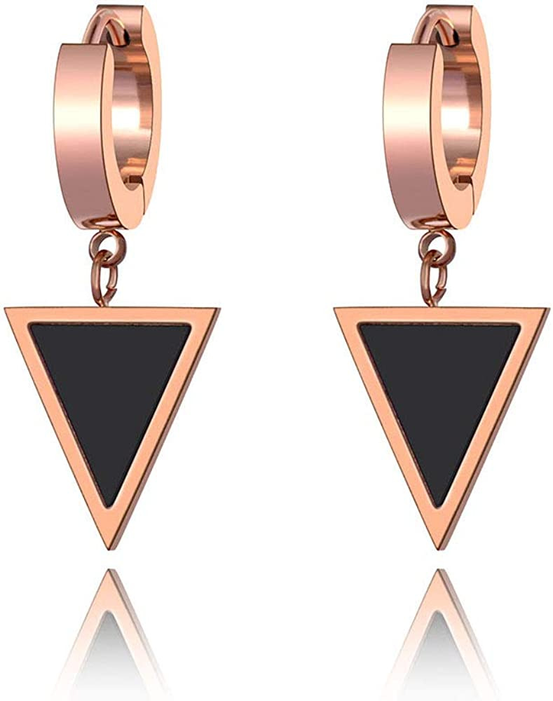 Al sold out. Lokaerlry Stainless Steel Cheap mail order specialty store Geometric Earrings Acry Triangle Black