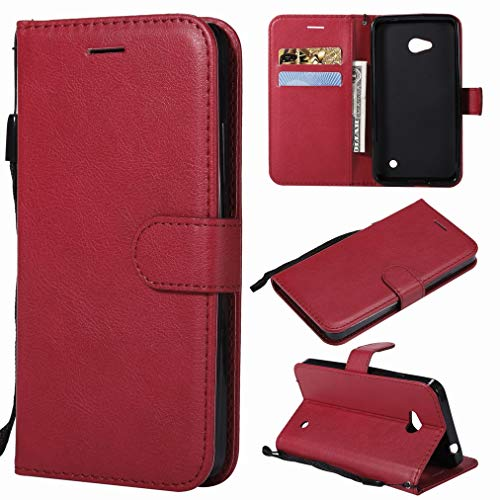 Laybomo Handyhülle für Microsoft Lumia 640 LTE Ledertasche Schuzhülle Weiches TPU Silikon Flip Cover Magnetisch Brieftasche Schale für Lumia 640 LTE mit Kartensteckplatz, Geschäft Serie (Red)