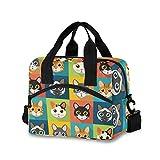 QMIN Borsa a tracolla per il pranzo con motivo di gatto e animali, borsa termica con tracolla, riutilizzabile per donne, uomini e ragazze e ragazzi