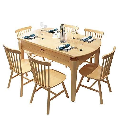 Combinación de Mesa y Silla de Comedor de Madera Maciza, Juego de 7 Piezas Mesa de Comedor Redonda Multifuncional Mesa Plegable y retráctil para el hogar 1 Mesa + 6 sillas,Natural Wood Color